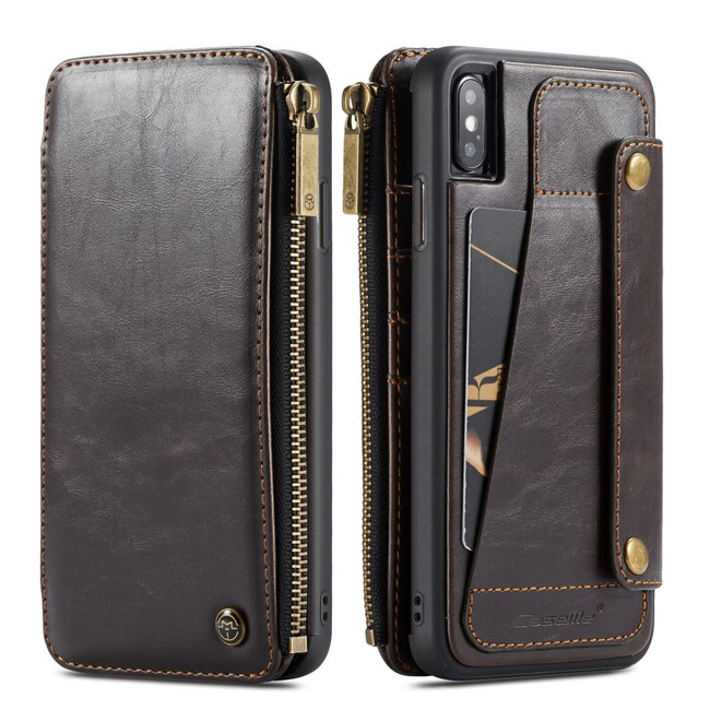 iPhone XS Max Case Coffee Detachable Multifunctional Folio Leather Cover with Card Slots and Zippered Wallet | Leather Apple iPhone XS Max Covers | Leather Apple iPhone XS Max Cases | iCoverLover