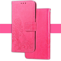 iPhone XS Max Case Magenta Embossed PU Leather & TPU Wallet-style Cover with 2 Card Slots, Built-in Kickstand, and Magnetic Flap Closure | Leather Apple iPhone XS Max Covers | Leather Apple iPhone XS Max Cases | iCoverLover