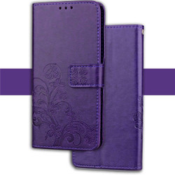 iPhone XS Max Case Purple Embossed PU Leather & TPU Wallet-style Cover with 2 Card Slots, Built-in Kickstand, and Magnetic Flap Closure | Leather Apple iPhone XS Max Covers | Leather Apple iPhone XS Max Cases | iCoverLover