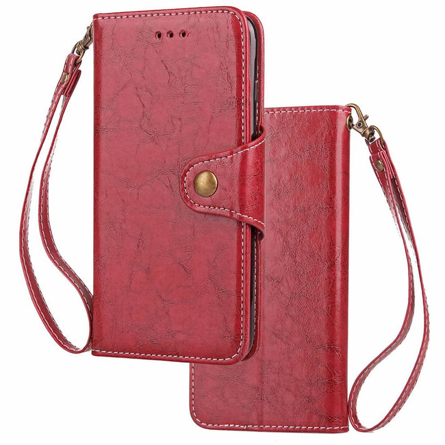 iPhone XS Max Case Red Wild Horse Texture Retro Business Folio Leather Cover with Card Slots, Cash Pocket, and Strap | Leather Apple iPhone XS Max Covers | Leather Apple iPhone XS Max Cases | iCoverLover