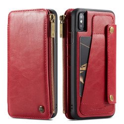 iPhone XS Max Case Red Detachable Multifunctional Folio Leather Cover with Card Slots and Zippered Wallet | Leather Apple iPhone XS Max Covers | Leather Apple iPhone XS Max Cases | iCoverLover