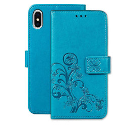 iPhone XR Case Blue Embossed PU Leather & TPU Wallet-style Cover with 2 Card Slots, Built-in Kickstand, and Magnetic Flap Closure   Leather Apple iPhone XR Covers   Leather Apple iPhone XR Cases   iCoverLover