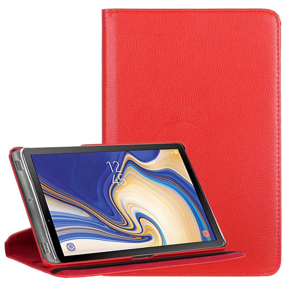 Samsung Galaxy Tab S4 10 5 inch, T830/T835 Case Red Lychee Texture Folio  360 Degrees Rotation Leather Case, Kickstand