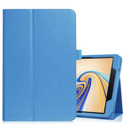 Samsung Galaxy Tab S4 Blue 10.5 Lychee Texture Folio Leather Case with Built-in Kickstand, Drop-proof and Anti-Scratch | Leather Samsung Galaxy Tab S4 Covers | Leather Samsung Galaxy Tab S4 Cases | iCoverLover