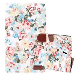 Samsung Galaxy Tab S4 10.5/T830 Case White Flower Pattern PU Leather Folio Cover with 5 Card Slots, Display Window & Built-in Kickstand | Leather Samsung Galaxy Tab S4 Covers | Leather Samsung Galaxy Tab S4 Cases | iCoverLover