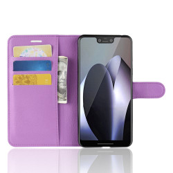 Google Pixel 3 XL Leather Wallet Case Purple Litchi Leather Cover with Kickstand and Card Slots | Leather Google Pixel 3 XL Covers | Leather Google Pixel 3 XL Cases | iCoverLover