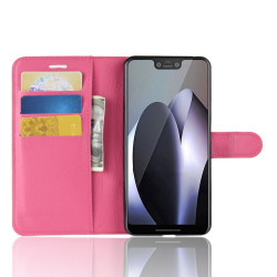 Google Pixel 3 XL Leather Wallet Case Magenta Litchi Leather Cover with Kickstand and Card Slots | Leather Google Pixel 3 XL Covers | Leather Google Pixel 3 XL Cases | iCoverLover