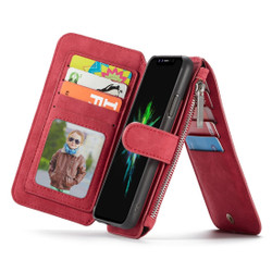 iPhone XS Max Case Red Wild Horse Texture PU Leather Detachable Folio Case with Card Slots and Zippered Compartment| Leather Apple iPhone XS Max Cases | Leather Apple iPhone XS Max Covers | iCoverLover