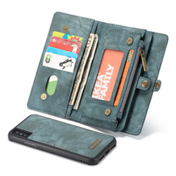 iPhone XS Max Case Blue Leather Multifunctional Case with 11 Card Slots, 1 Cash Slot, 1 Photo Display and Zipper Wallet | Leather Apple iPhone XS Max Cases | Leather Apple iPhone XS Max Covers | iCoverLover