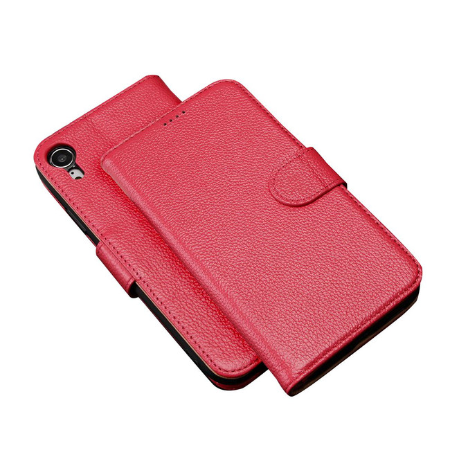 iPhone XR Case Pink Fashion Cowhide Genuine Leather Wallet Cover with 2 Card Slots, 1 Cash Slot & Built-in Kickstand | Genuine Leather iPhone XR Covers Cases | Genuine Leather iPhone XR Covers