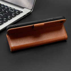 iPhone XR Case Brown Fashion Cowhide Genuine Leather Wallet Cover with 2 Card Slots, 1 Cash Slot & Built-in Kickstand | Genuine Leather iPhone XR Covers Cases | Genuine Leather iPhone XR Covers