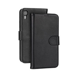 iPhone XR Case Black Fashion Cowhide Genuine Leather Wallet Cover with 2 Card Slots, 1 Cash Slot & Built-in Kickstand | Genuine Leather iPhone XR Covers Cases | Genuine Leather iPhone XR Covers
