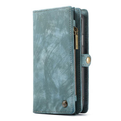 iPhone XR Case Blue Detachable Multifunctional Leather Folio Cover with 11 Card Slots, 3 Cash Slot, and 1 Zipper Wallet| Leather Apple iPhone XR Cases | Leather Apple iPhone XR Covers | iCoverLover