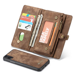 iPhone XR Case Brown Detachable Multifunctional Leather Folio Cover with 11 Card Slots, 3 Cash Slot, and 1 Zipper Wallet| Leather Apple iPhone XR Cases | Leather Apple iPhone XR Covers | iCoverLover