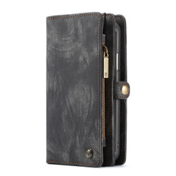 iPhone XR Case Black Detachable Multifunctional Leather Folio Cover with 11 Card Slots, 3 Cash Slot, and 1 Zipper Wallet   Leather Apple iPhone XR Cases   Leather Apple iPhone XR Covers   iCoverLover