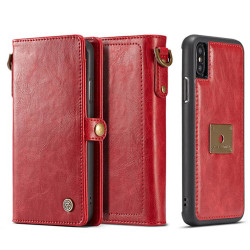 iPhone XR Case Red Detachable Horizontal Flip Leather Case with Lanyard and Buckle, 6 Card Slots, and 1 Cash Slot   Leather Apple iPhone XR Cases   Leather Apple iPhone XR Covers   iCoverLover