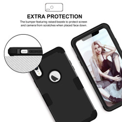 iPhone XR Case Black Dropproof PC and Silicone Protective Back Cover with Enhanced Grip and Scratch-Resistance | Armor Apple iPhone XR Cases | Armor Apple iPhone XR Covers | iCoverLover
