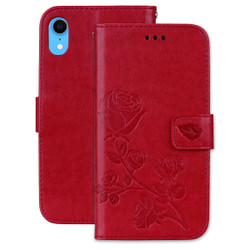 iPhone XR Case Red Rose-Embossed Horizontal Flip PU Leather Cover With 2 Card Slots, Cash Pocket Compartment | Leather Apple iPhone XR Cases | Leather Apple iPhone XR Covers | iCoverLover