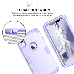iPhone XR Case Light Purple Dropproof PC and Silicone Protective Back Cover with Enhanced Grip and Scratch-Resistance   Armor Apple iPhone XR Cases   Armor Apple iPhone XR Covers   iCoverLover