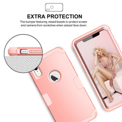 iPhone XR Case Rose Gold Dropproof PC and Silicone Protective Back Cover with Enhanced Grip and Scratch-Resistance | Armor Apple iPhone XR Cases | Armor Apple iPhone XR Covers | iCoverLover