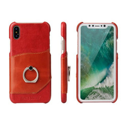 Fierre Shann Red Ring Holder Genuine Leather iPhone XS Max Case | Genuine Leather iPhone XS Max Cases | Genuine Leather iPhone XS Max Covers | iCoverLover