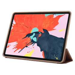 iPad Pro 11 Inch (2018) Case Gold Solid Color PU Leather Folio Cover With Three Fold Stand & Wake/Sleep Function | Leather iPad Pro 11 Inch (2018) Cases | iPad Pro 11 Inch Covers | iCoverLover