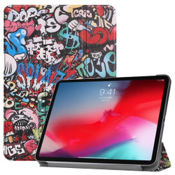 iPad Pro 11-inch 2018 Case Graffiti Patterned PU Leather Folio with Cover with Wake/Sleep Function, Three-Folding Holder and Scratch-proof | Leather iPad Pro 11 Inch Cases | iPad Pro 11 Inch Covers | iCoverLover