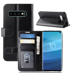 Samsung Galaxy S10 Case Black Horse Texture Single Fold PU Leather Folio Cover with Card Slots and Built-in Kickstand | Leather Samsung Galaxy S10 Covers | Leather Samsung Galaxy S10 Cases | iCoverLover