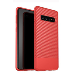 Samsung Galaxy S10 Case Red Carbon Fiber Texture TPU Protective Back Shell with Anti-Fingerprints, Flexible, Ultra-Slim and Shock-resistant | Protective Samsung Galaxy S10 Covers | Protective Samsung Galaxy S10 Cases | iCoverLover