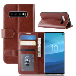 Samsung Galaxy S10 Case Brown Horse Texture Single Fold PU Leather Folio Cover with Card Slots and Built-in Kickstand | Leather Samsung Galaxy S10 Covers | Leather Samsung Galaxy S10 Cases | iCoverLover