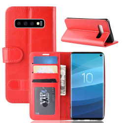 Samsung Galaxy S10 Case Red Horse Texture Single Fold PU Leather Folio Cover with Card Slots and Built-in Kickstand | Leather Samsung Galaxy S10 Covers | Leather Samsung Galaxy S10 Cases | iCoverLover