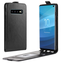 Samsung Galaxy S10 Case Black Business Style PU Leather Vertical Flip-Style Cover with 1 Card Compartment, Slim Build | Leather Samsung Galaxy S10 Covers | Leather Samsung Galaxy S10 Cases | iCoverLover