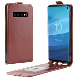 Samsung Galaxy S10 Case Brown Business Style PU Leather Vertical Flip-Style Cover with 1 Card Compartment, Slim Build | Leather Samsung Galaxy S10 Covers | Leather Samsung Galaxy S10 Cases | iCoverLover