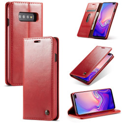 Samsung Galaxy S10 Case Red PC + PU Leather Business Style Wild Horse Texture Wallet Cover | Leather Samsung Galaxy S10 Covers | Leather Samsung Galaxy S10 Cases | iCoverLover