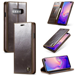 Samsung Galaxy S10 Case Brown PC + PU Leather Business Style Wild Horse Texture Wallet Cover | Leather Samsung Galaxy S10 Covers | Leather Samsung Galaxy S10 Cases | iCoverLover