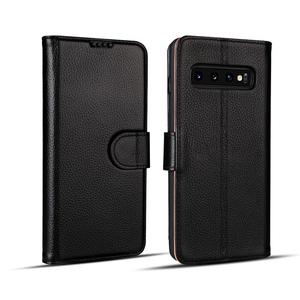 Samsung Galaxy S10 Case Black Fashion Cowhide Genuine Leather Flip Cover with 2 Card Slots, 1 Cash Slot & Shockproof