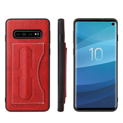 Samsung Galaxy S10 Case Red Fierre Shann Luxury PU Leather Back Case with Built-in Kickstand and 1 Exterior Card Slot | Leather Samsung Galaxy S10 Cases | Leather Samsung Galaxy S10 Covers | iCoverLover