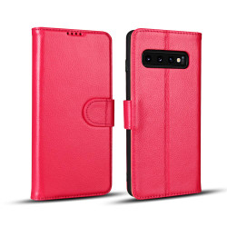 Samsung Galaxy S10 Case Pink Fashion Cowhide Genuine Leather Flip Cover with 2 Card Slots, 1 Cash Slot & Shockproof | Genuine Leather Samsung Galaxy S10 Covers Cases | Genuine Leather Samsung Galaxy S10 Covers