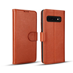 Samsung Galaxy S10 PLUS Case Brown Fashion Cowhide Genuine Leather Flip Cover with 2 Card Slots, 1 Cash Slot & Shockproof | Genuine Leather Samsung Galaxy S10 PLUS Covers Cases | Genuine Leather Samsung Galaxy S10 PLUS Covers