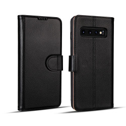 Samsung Galaxy S10 PLUS Case Black Fashion Cowhide Genuine Leather Flip Cover with 2 Card Slots, 1 Cash Slot & Shockproof | Genuine Leather Samsung Galaxy S10 PLUS Covers Cases | Genuine Leather Samsung Galaxy S10 PLUS Covers