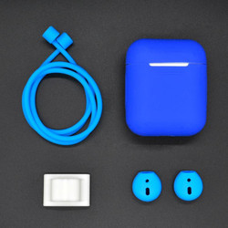 For Apple Airpods 1 & 2 Dark Blue Shockproof Cover Case Set with Antiloss Rope, Silicone Case, Earphone Hang Buckle, Earplug Cover   AirPods Accessories   iCoverLover