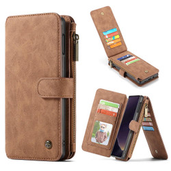 Samsung Galaxy S10e Case Brown PU Leather Wild Horse Texture Detachable Cover, 14 Card Slots, Photo Frame, Kickstand | Leather Samsung Galaxy S10e Covers | Leather Samsung Galaxy S10e Cases | iCoverLover