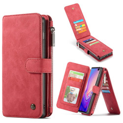 Samsung Galaxy S10 Case Red PU Leather Wild Horse Texture Detachable Cover, 14 Card Slots, Photo Frame, Kickstand