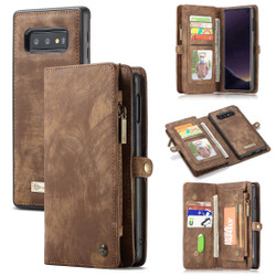 Samsung Galaxy S10e Case Brown PU Leather Detachable Cover, 11 Card Slots, 2 Cash Pockets, 2 Photo Frames, Kickstand | Leather Samsung Galaxy S10e Covers | Leather Samsung Galaxy S10e Cases | iCoverLover