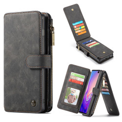 Samsung Galaxy S10+ Plus Case Black PU Leather Wild Horse Texture Detachable Cover, 14 Card Slots, Photo Frame, Kickstand   Leather Samsung Galaxy S10+ Plus Covers   Leather Samsung Galaxy S10+ Plus Cases   iCoverLover