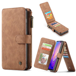 Samsung Galaxy S10 Case Brown PU Leather Wild Horse Texture Detachable Cover, 14 Card Slots, Photo Frame, Kickstand | Leather Samsung Galaxy S10 Covers | Leather Samsung Galaxy S10 Cases | iCoverLover