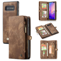 Samsung Galaxy S10 Case Brown PU Leather Detachable Cover, 11 Card Slots, 2 Cash Pockets, 2 Photo Frames, Kickstand | Leather Samsung Galaxy S10 Covers | Leather Samsung Galaxy S10 Cases | iCoverLover