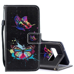 Samsung Galaxy S10e Case Colored Butterfly Pattern PU Leather Horizontal Flip Case with Attached Holder & Kickstand | Leather Samsung Galaxy S10e Covers | Leather Samsung Galaxy S10e Cases | iCoverLover