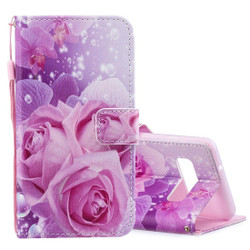 Samsung Galaxy S10e Case Pink Rose Pattern PU Leather Folio Cover with Kickstand, Lanyard & Magnetic Flap Closure | Leather Samsung Galaxy S10e Covers | Leather Samsung Galaxy S10e Cases | iCoverLover