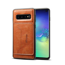 Samsung Galaxy S10e Case Brown Wild Horse Texture TPU & PC & PU Leather Protective Cover, Card Slot, Kickstand | Leather Samsung Galaxy S10e Covers | Leather Samsung Galaxy S10e Cases | iCoverLover